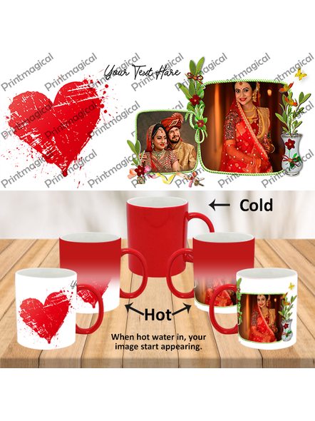 Hearts with Flower Personalized Red Magic Mugs-MMR0016A