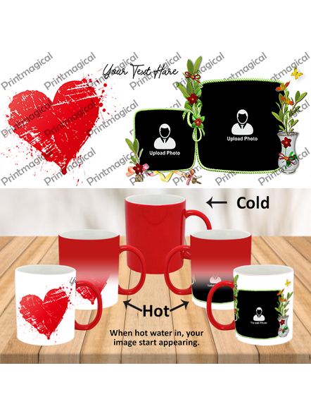 Hearts with Flower Personalized Red Magic Mugs-1