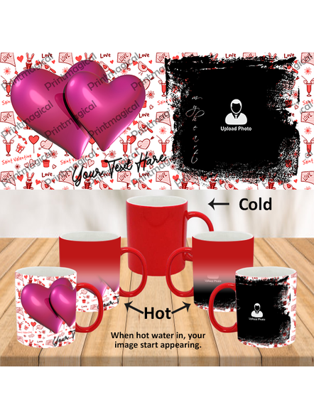 Love Pattern purple Hearts together Personalized Red Magic Mugs-1