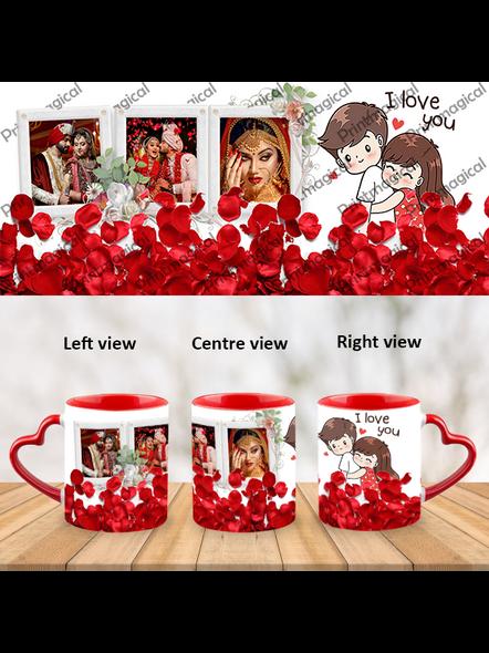 Elegant Looking Rose Leaves Personalized Heart Handle Mug-HM0049A-5
