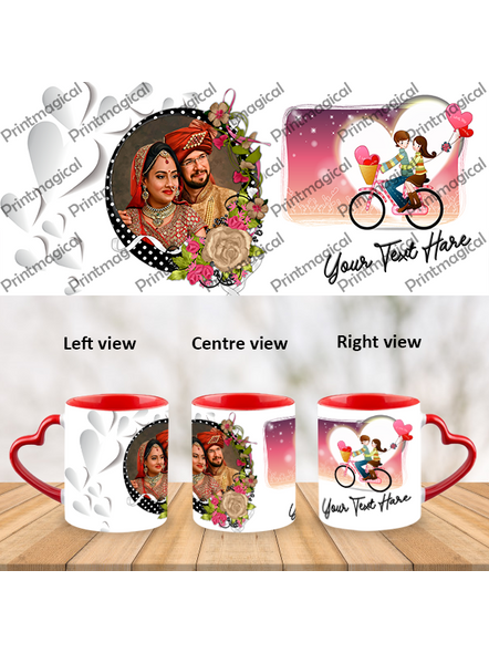 Couple Walking on Cycle Personalized Heart Handle Mugs-HM0062A-7