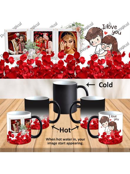 Elegent Looking Rose Leaves Personalized Black Magic Mug-MM0022A-9