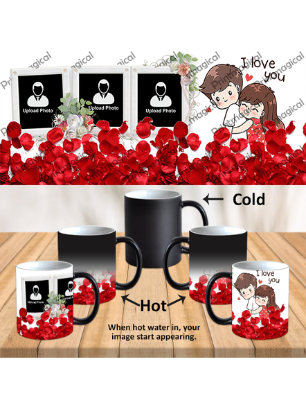 Elegent Looking Rose Leaves Personalized Black Magic Mug-1