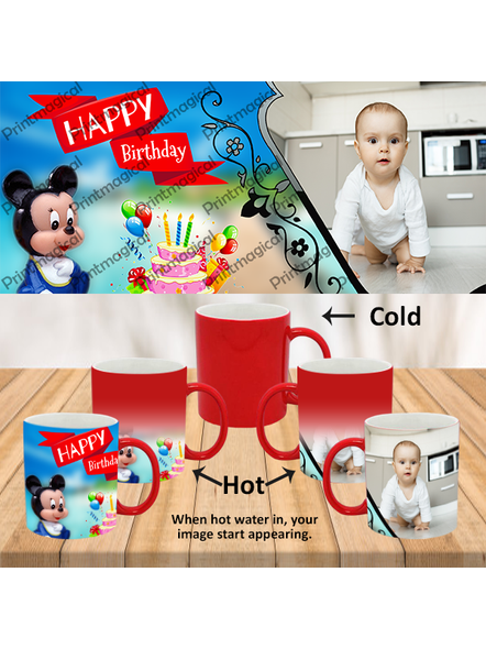 Birthday Cake with Micky Mouse Personalized Red Magic Mug-MMR0013A-17