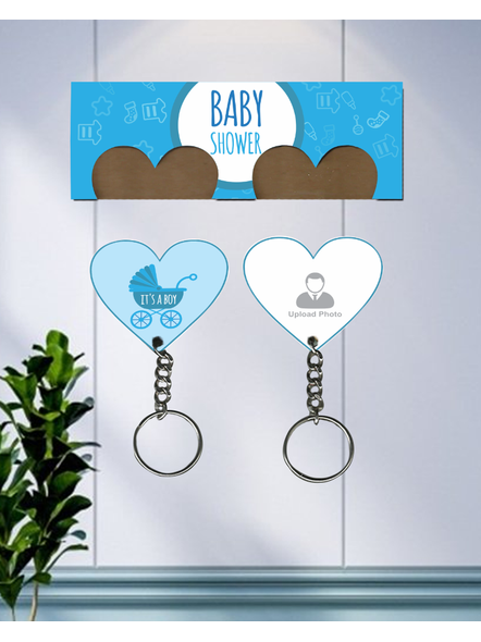 It's a Baby Boy Personalized Hanging Hearts Keychain Holder-HKEYH0023A-29