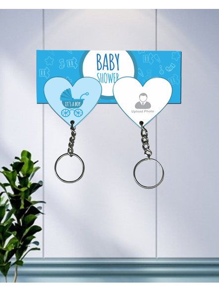 It's a Baby Boy Personalized Hanging Hearts Keychain Holder-1