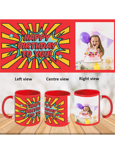 Red Rays Happy Birthday Red Inner Colour Mug-Red-1