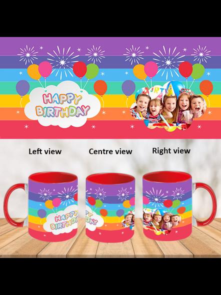 Birthday Balloons Red Inner Colour Mug-Red-1