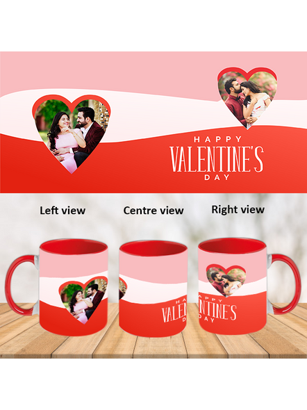 Multi Rays happy Valentine's Day red Inner Color Mug-Red-1