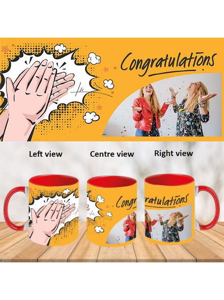 Clapping Congratulations Red Inside Color Mug-Red-1
