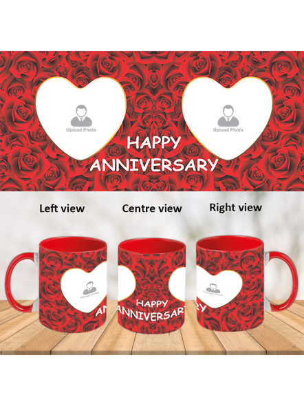Red Roses happy Anniversary Red Inner Colour Mug-ICRM0006A-1