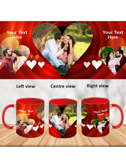 Multi Hearts Valentines day Red Inner Colour Mug-Red-1