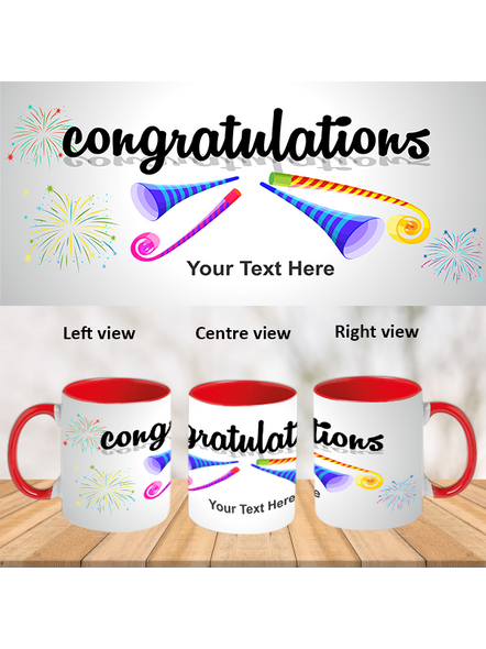 Blowing Trumpet Congratulations Red Inner Colour Mug-ICRM0015A-1