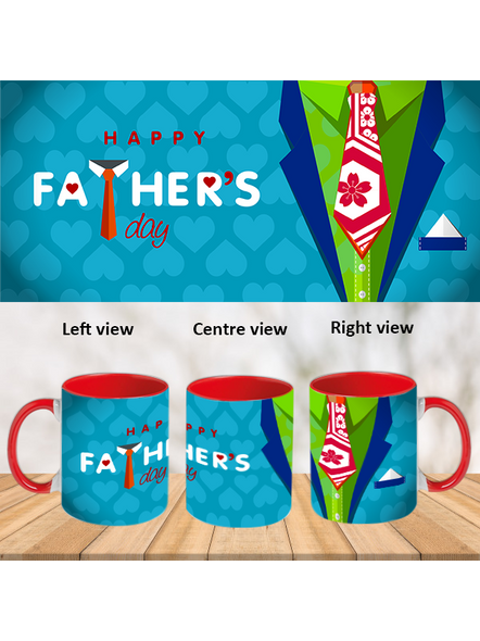 Happy Father's Day Designer Red Inner Color Mug-ICRM0016A-1