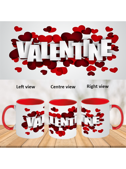 Multi Hearts blowing valentines day red inner Colour Mug-ICRM0018A-1