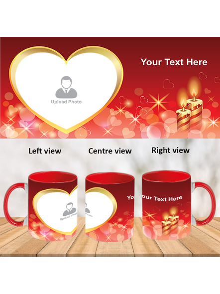 Heart with Candle Red Inner Colour Mug-ICRM0019A-1
