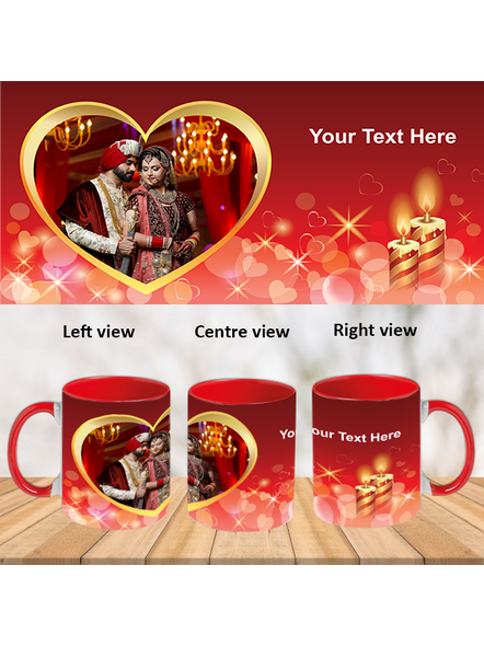 Heart with Candle Red Inner Colour Mug-Red-1