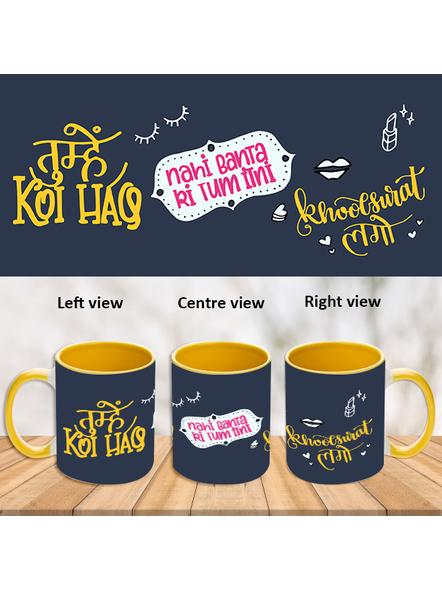 Tum bahut Khoobsoorat Ho Yellow Inner Colour Mug-ICYM0006A-1