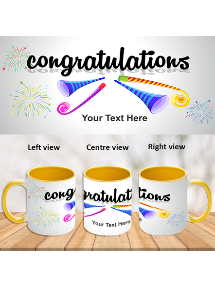 Blowing Trumpet Congratulations Yellow Inner Color Mug-ICYM0008A-1