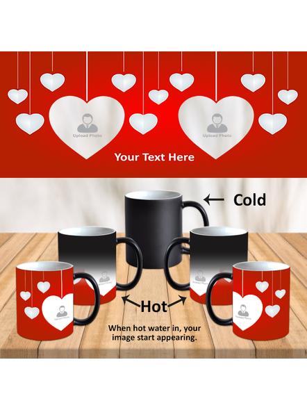 Hanging Multi Hearts Personalized Black Magic Mug-MM0004A-1