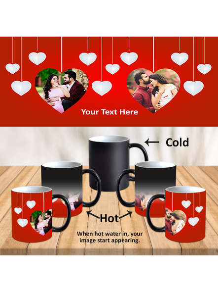 Hanging Multi Hearts Personalized Black Magic Mug-Black-1