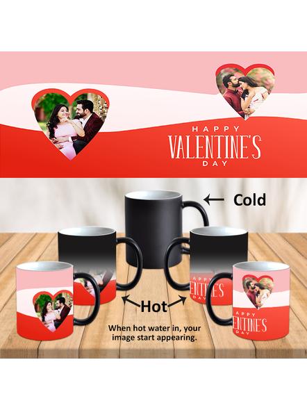 Happy Valentines Day Hearts Personalized Black Magic Mug-Black-1