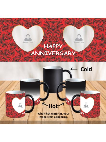 Red Roses Happy Anniversary Customized Black Magic Mug-MM0006A-1