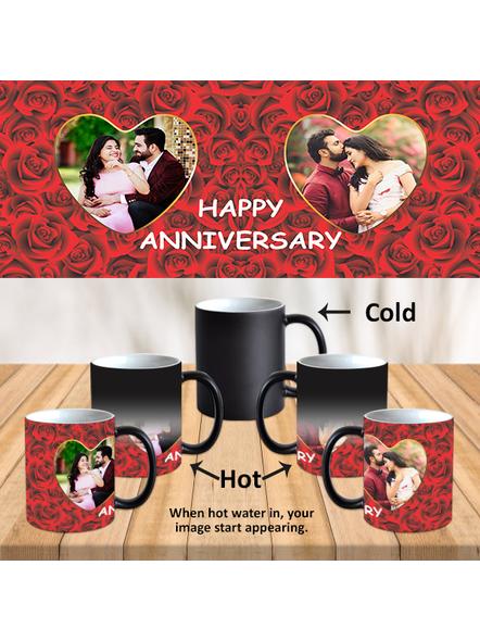 Red Roses Happy Anniversary Customized Black Magic Mug-Black-1