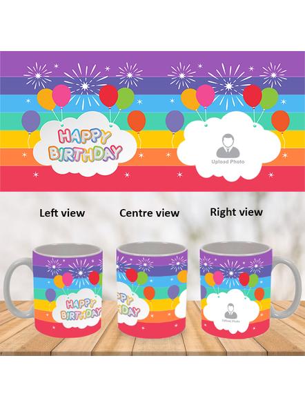 Happy Birthday Colorful Baloons Personalized White Mug-WM0003A-1