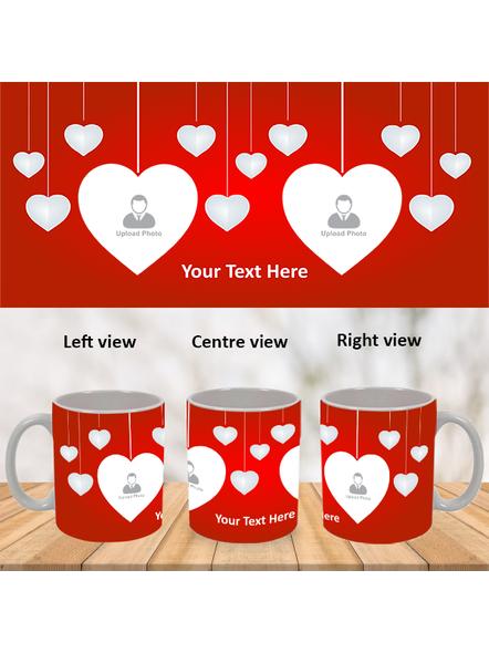 Multi Hanging Hearts Personalized White Mug-WM0006A-1