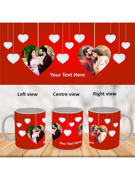 Multi Hanging Hearts Personalized White Mug-White-1