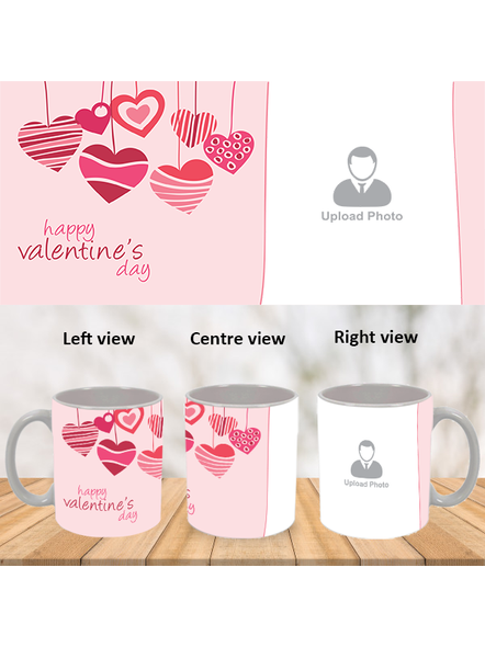 Hanging Hearts Designer Personalized White Mug-WM0010A-1