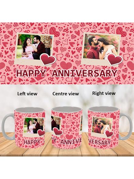Super Love Designer Happy Anniversary White Mug-White-1