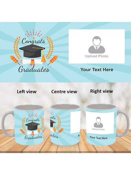 Congrats Graduates Printed White Mug-WM0022A-1