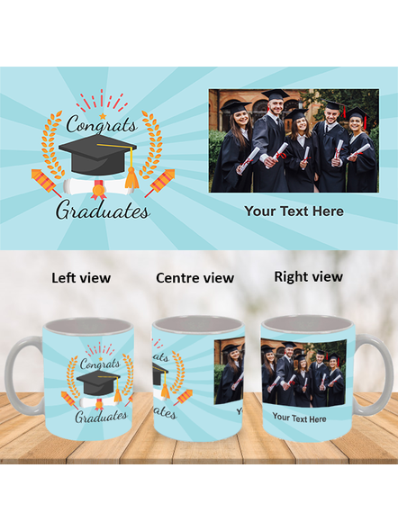 Congrats Graduates Printed White Mug-White-1