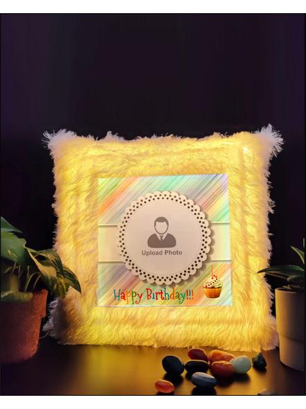 Personalized Happy Birthday with Cake LED cushion-LEDCUSWOR001A