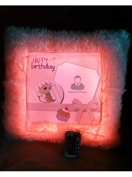 Happy Birthday Cake with Sweet Puppy Personalized LED Cushion with Remote-LEDCUSWR001A