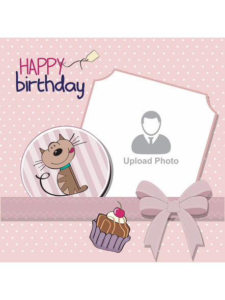 Happy Birthday Cake with Sweet Puppy Personalized LED Cushion with Remote-1
