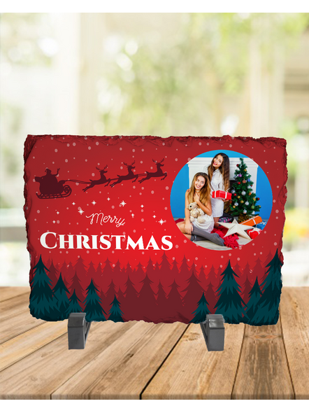 Senta Flying Merry Christmas Personalized Rectangle Rock Stone-RCTFOTO0006A