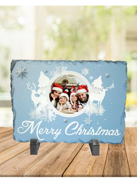 Merry Christmas White Themed Personalized Rectangle Rock Stone-RCTFOTO0009A