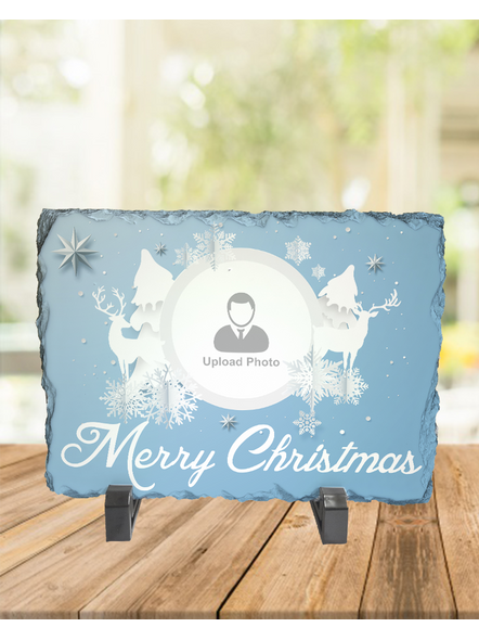 Merry Christmas White Themed Personalized Rectangle Rock Stone-1