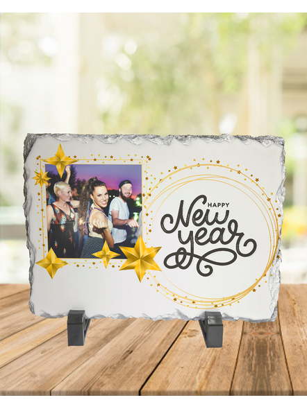 Happy New Year Star Theme Personalized Rectangle Photo Rock Stone-RCTFOTO0021A