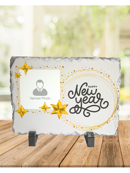 Happy New Year Star Theme Personalized Rectangle Photo Rock Stone-1