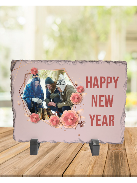 Happy New Year Floweral Themed Rectangle Rock Stone-RCTFOTO0023A
