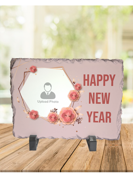 Happy New Year Floweral Themed Rectangle Rock Stone-1