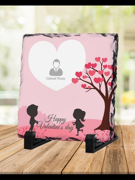 Valentine Cute Couple Personalized Square Rock Stone-1