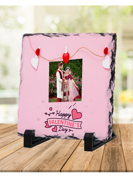 Elegent Happy Valentines day Personalized Square Rock Stone-SQRFOTOR0004A