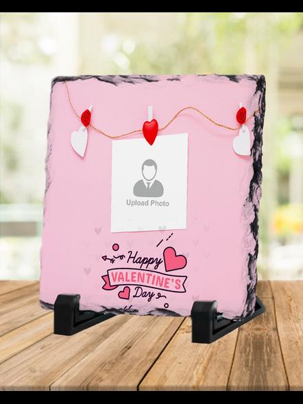 Elegent Happy Valentines day Personalized Square Rock Stone-1