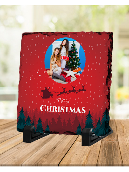 Senta Flying Merry Christmas Personalized Square Rock Stone-SQRFOTOR0006A