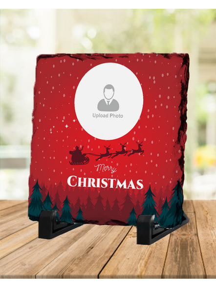 Senta Flying Merry Christmas Personalized Square Rock Stone-1